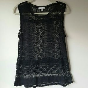 Olsenboye Black Lace sleeveless top-XL
